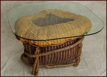 Sea Anemone - a custom built, custom-woven end table by basket artist Tina Puckett