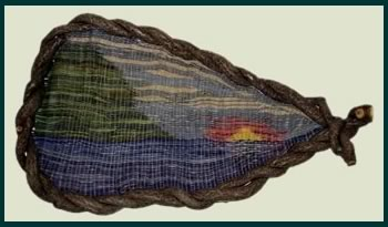Barbados, a woven mountainscape by basket artist Tina Puckett