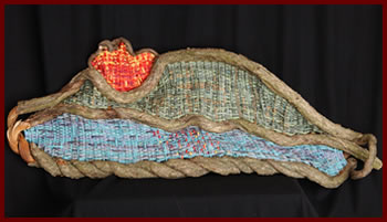 Bermuda, a woven mountainscape by basket artist Tina Puckett of Winsted, CT