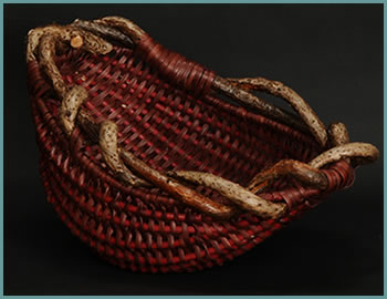 Brownie, a woven bowl by woven sculpture artist Tina Puckett of Winsted, CT