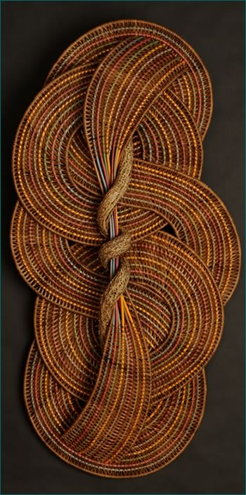 Circles and Curves is a large woven wallhanger by American master weaver Tina Puckett of Winsted, CT