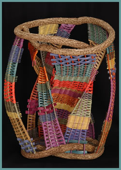 Hourglass is a free-standing woven sculpture by master basket weaver Tina Puckett - Tinas Baskets of Winsted, CT