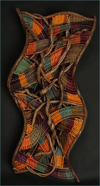 Marvelous Hula Dancing is a woven wave by American master weaver Tina Puckett of Winsted, CT