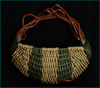 Seagrass, a small pocket wallhanger woven by master basket weaver Tina Puckett of Winsted, CT