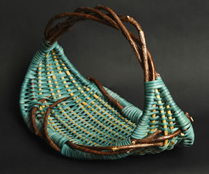 Simple basket woven by Tina Puckett