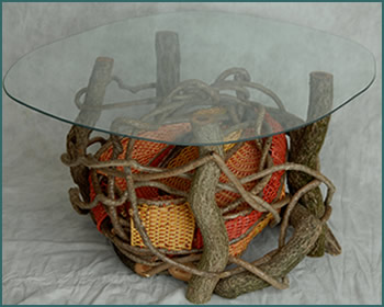 The Dragon Pouch Table - custom built, custom woven by basket artist Tina Puckett of Winsted, CT