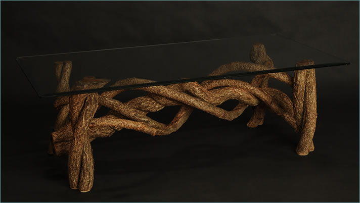 Twisting and Turning is a coffee table designed and built by master weaver Tina Puckett