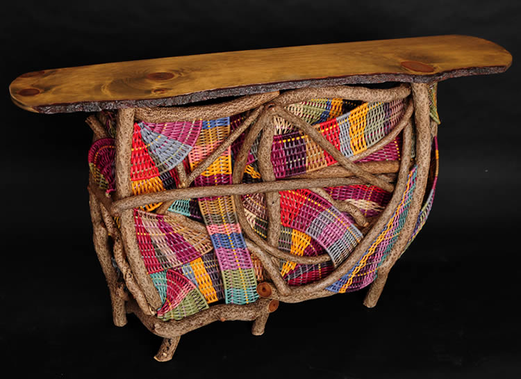 The tiki bar Arcs of Joy built and woven by master weaver Tina Puckett of Tina's Baskets in Winsted, CT