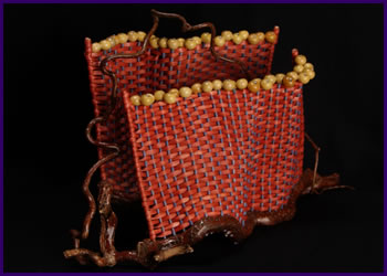 Two Walls is a free-standing sculpture by master basket weaver Tina Puckett